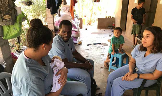 IU Med Students working with midwives in the communities